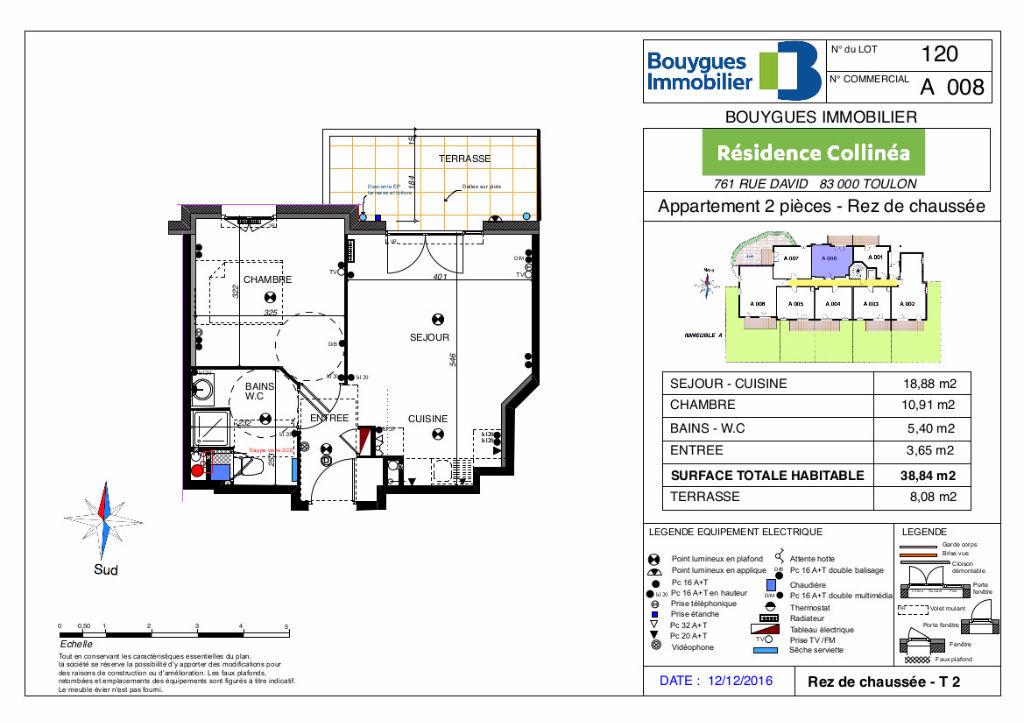 Toulon Ouest, Valbertrand, Appartement 2 pièces + terrasse + parking.
